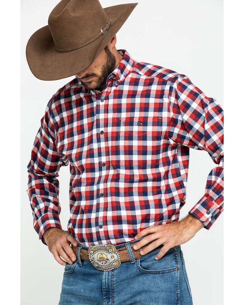 Ariat Men's Elzerman Performance Flannel Long Sleeve Western Shirt , Burgundy, hi-res