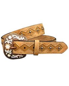 Roper Women's Diamond Inlay Stud & Rhinestone Leather Belt, Brown, hi-res