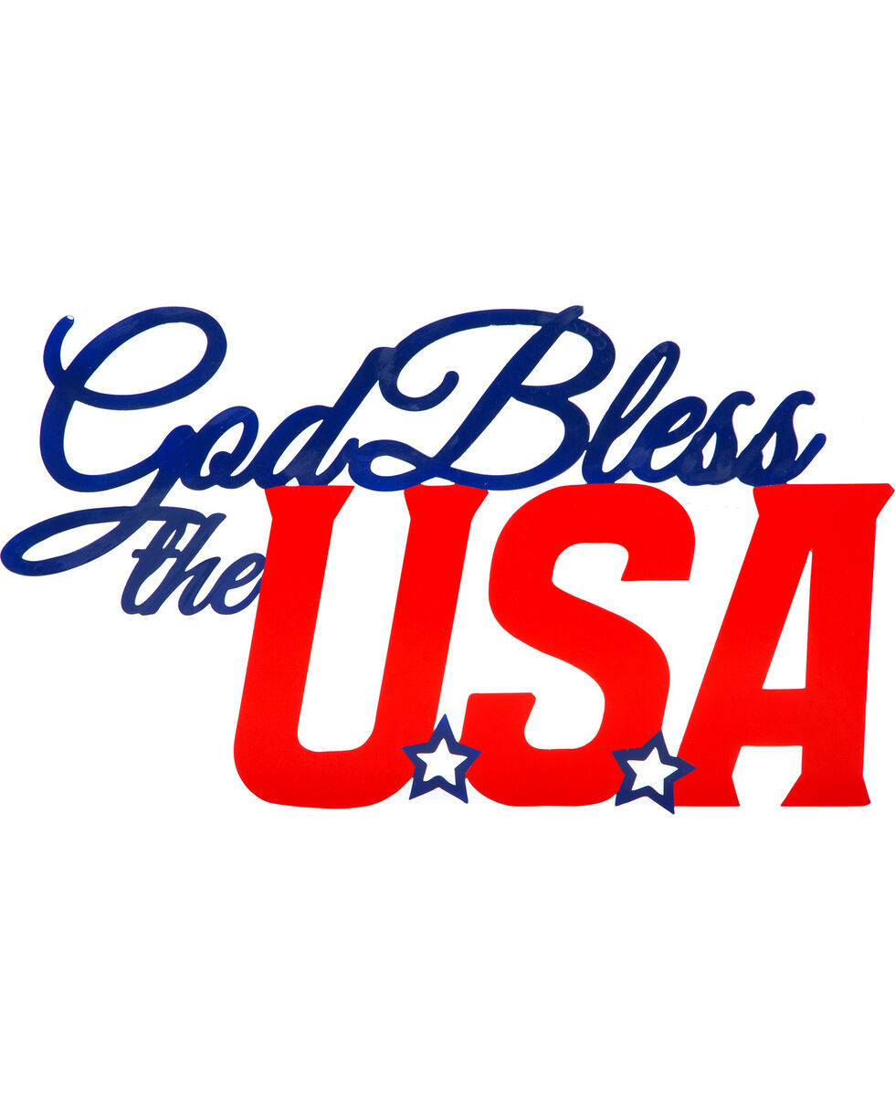 Evergreen God Bless the USA Metal Sign , Red/white/blue, hi-res