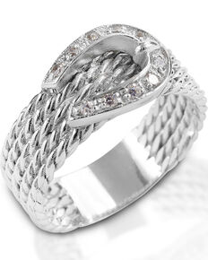 Kelly Herd Women's Clear Rope Buckle Ring , Silver, hi-res