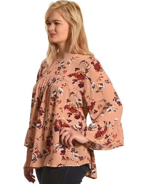 Eyeshadow Women's Pink Floral Peasant Blouse - Plus Size , Pink, hi-res