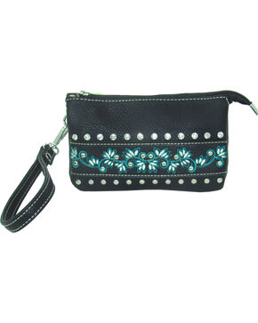 Savana Women's Event Approved Embroidered Clutch , Black, hi-res