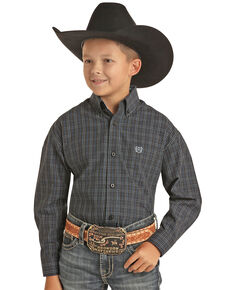 Panhandle Select Boys' Black Grid Plaid Long Sleeve Western Shirt , Black, hi-res