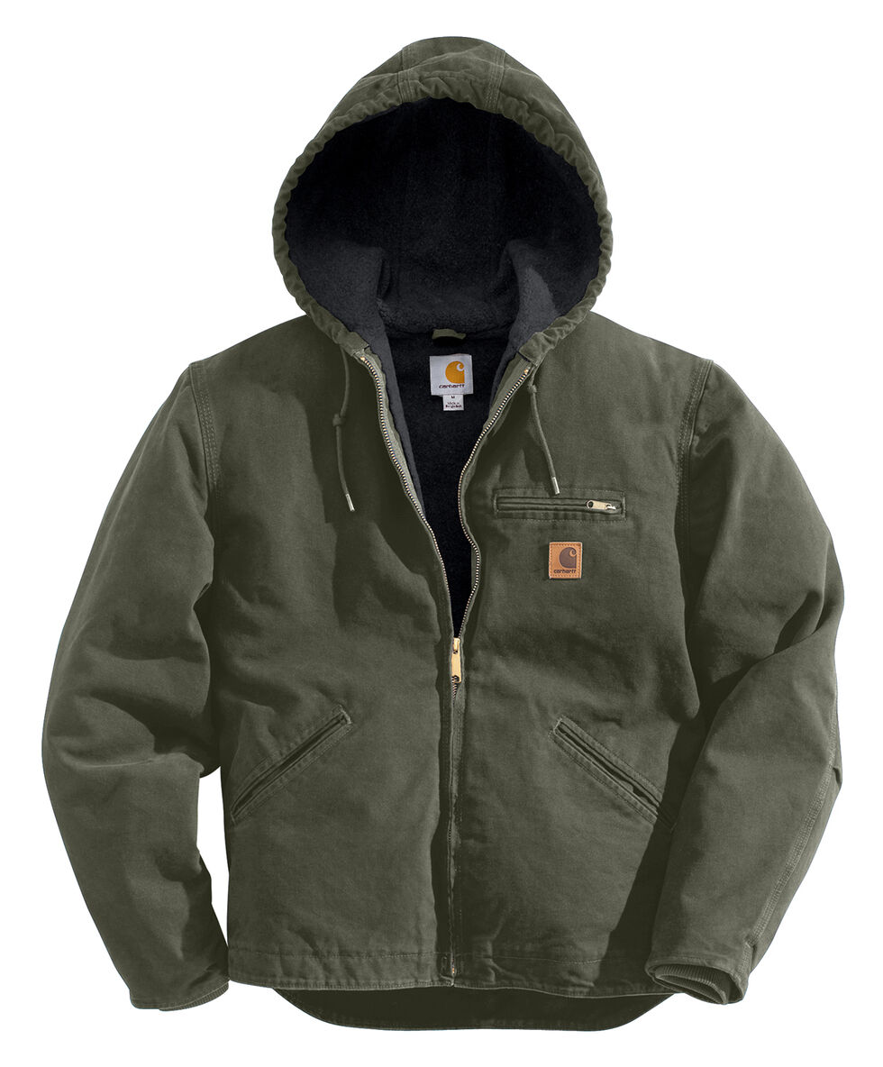 Carhartt Men's Black Cotton Duck Lined Jacket, Moss, hi-res