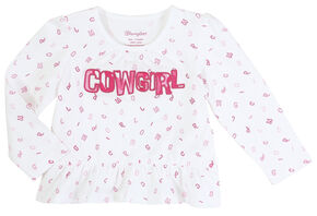 Wrangler Infant Girls' Long Sleeve Cowgirl Peplum Top, Multi, hi-res