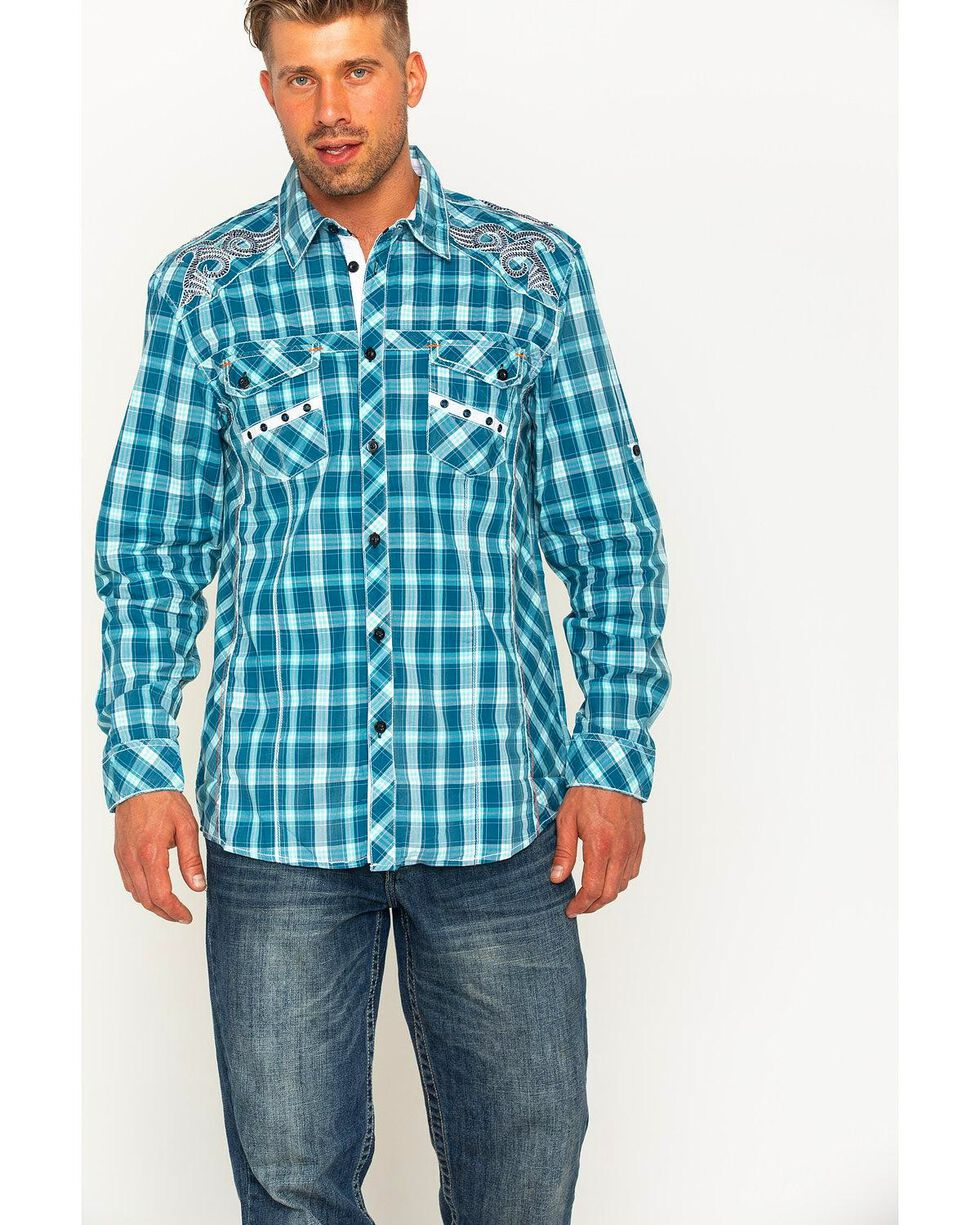 Austin Season Men's Plaid Embroidered Cross Button Down Shirt, Blue, hi-res