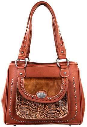 Montana West Trinity Ranch Concealed Handgun Collection Handbag with front Pocket, Brown, hi-res
