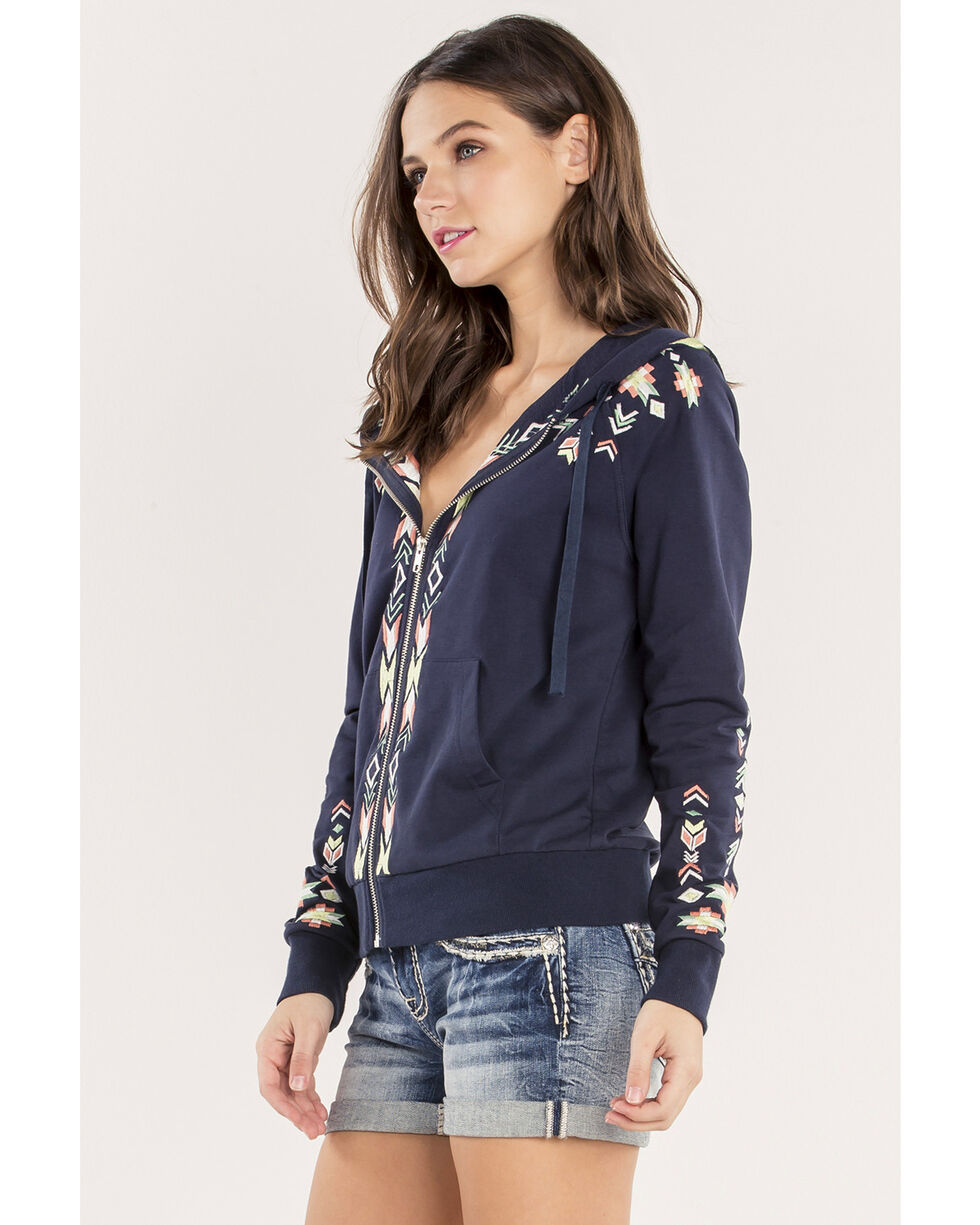 Miss Me Women's Scenic Route Zip Hoodie, Navy, hi-res
