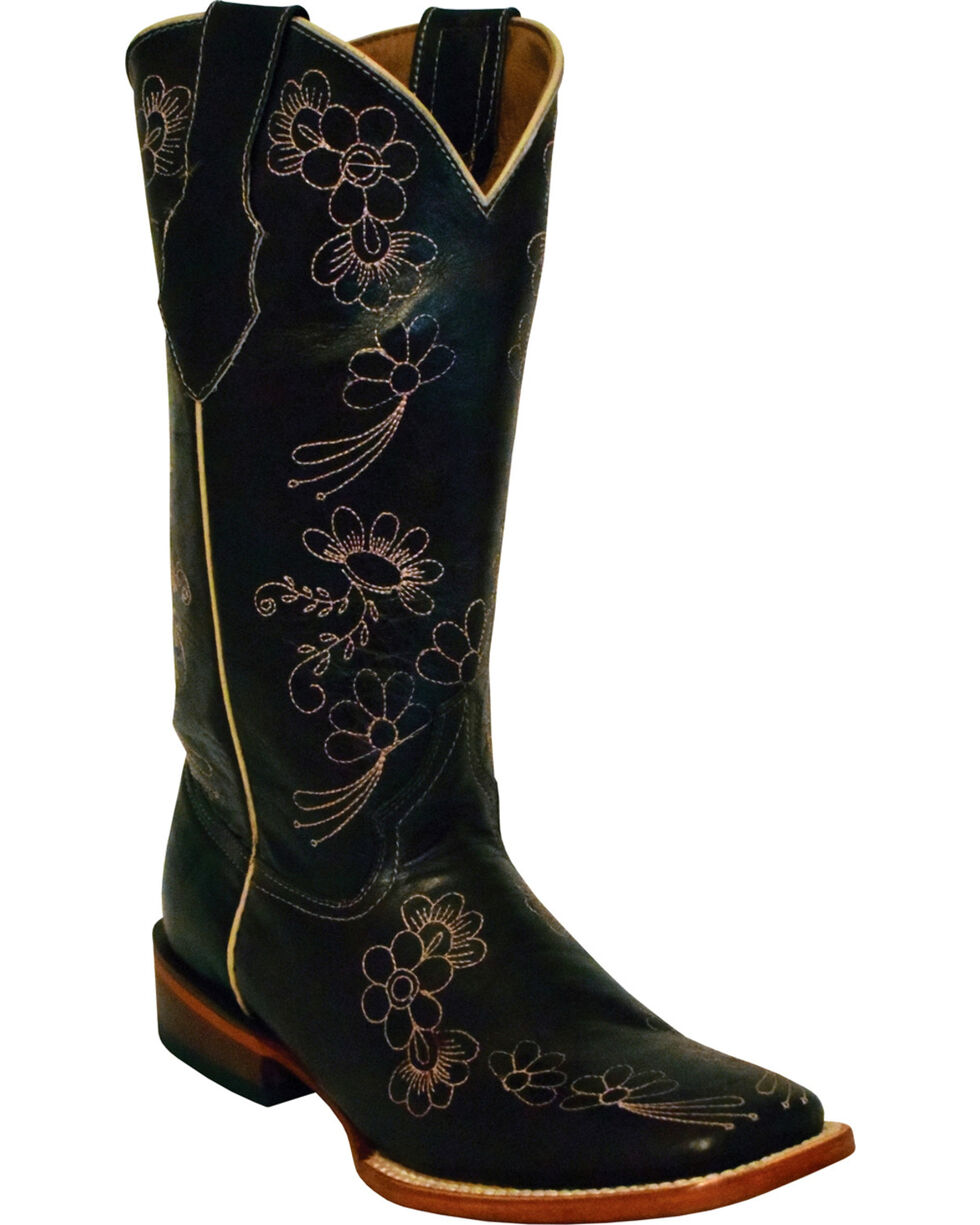 Ferrini Women's Daisy Black Cherry Floral Stitched Cowgirl Boots - Square Toe, Black Cherry, hi-res