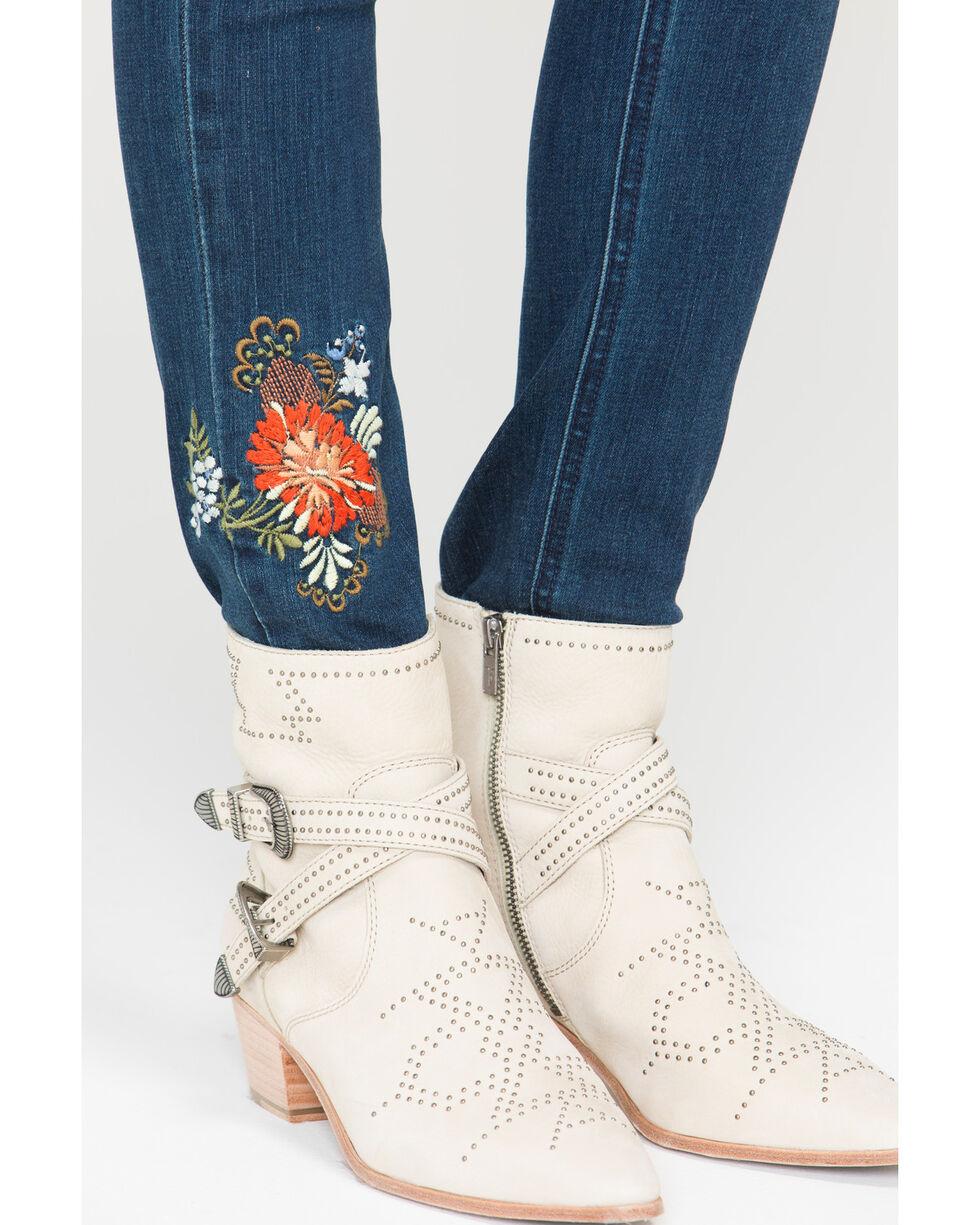 Grace in LA Women's Floral Embroidered Skinny Jeans, Indigo, hi-res