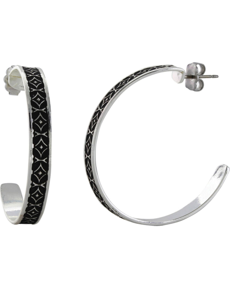 Montana Silversmiths Women's Crosscut Banded Mosaic Hoop Earrings , Silver, hi-res