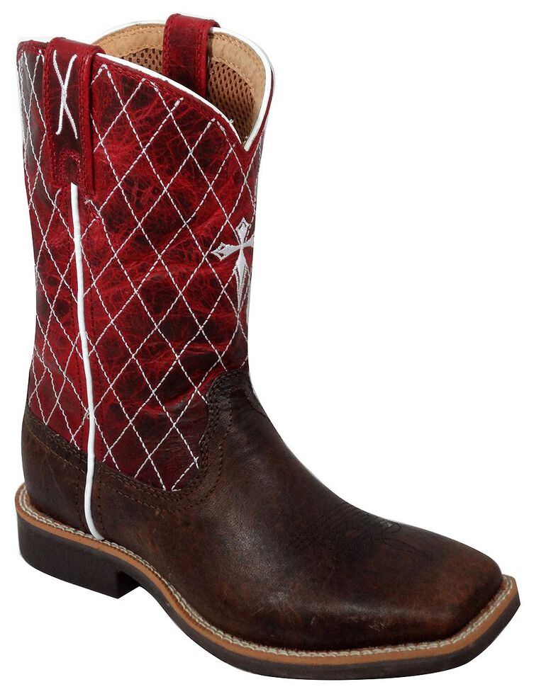 Twisted X Youth Red Cowkid Work Boots - Square Toe, Chocolate, hi-res