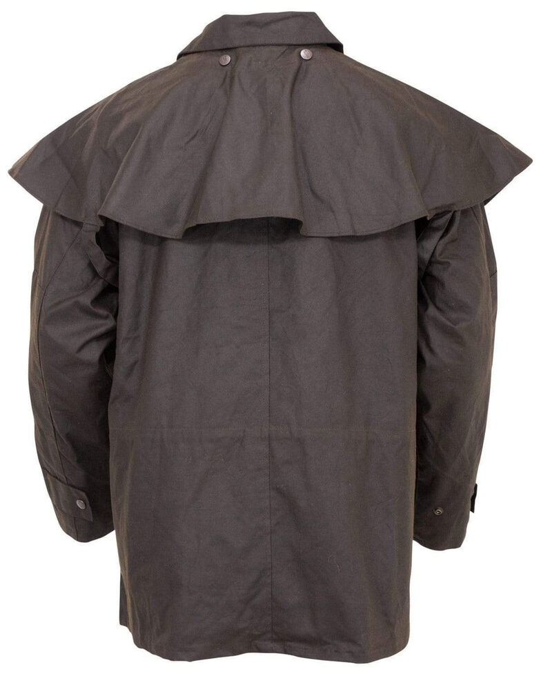 Outback Trading Co. Men's Short Oilskin Duster, Brown, hi-res