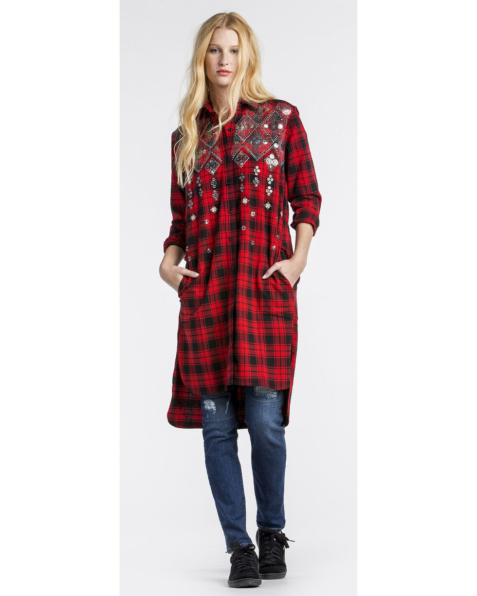 MM Vintage Women's Hi Lo Embellished Plaid Dress, Red, hi-res