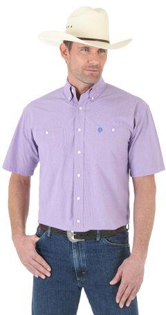 Wrangler George Strait Blue and Rose MIni-Plaid Poplin Short Sleeve Western Shirt , Blue, hi-res