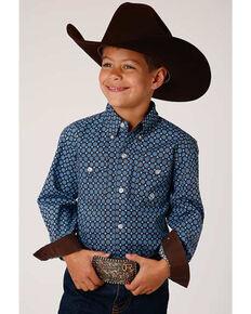 Roper Boys' Cedar Brook Foulard Geo Print Long Sleeve Button-Down Western Shirt, Blue, hi-res