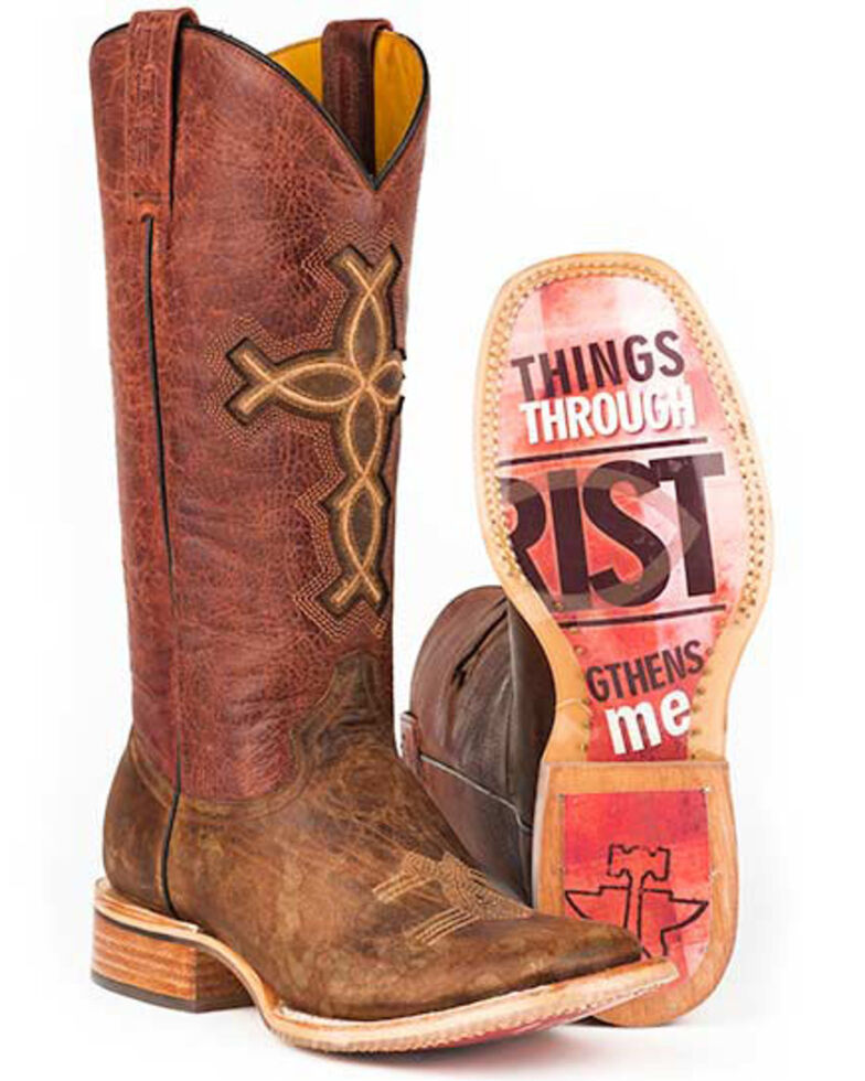 Tin Haul I Believe Cowgirl Boots - Square Toe, Brown, hi-res
