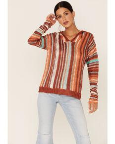 Rock & Roll Denim Women's Rust Knitted Stripe Hoodie , Rust Copper, hi-res