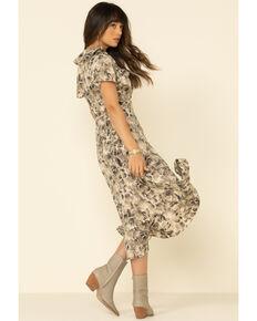 Miss Me Women's Tan Abstract Snake Print Ruffle Wrap Dress, Tan, hi-res