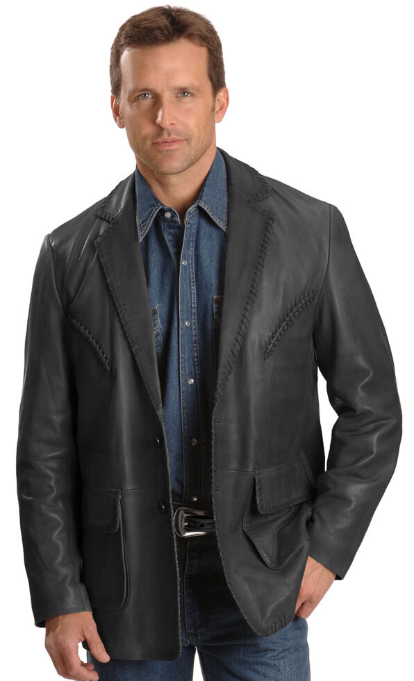 Scully Whipstitch Lambskin Leather Blazer - Big & Tall, Black, hi-res