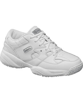 SkidBuster Men's White Slip-Resistant Athletic Work Shoes, White, hi-res