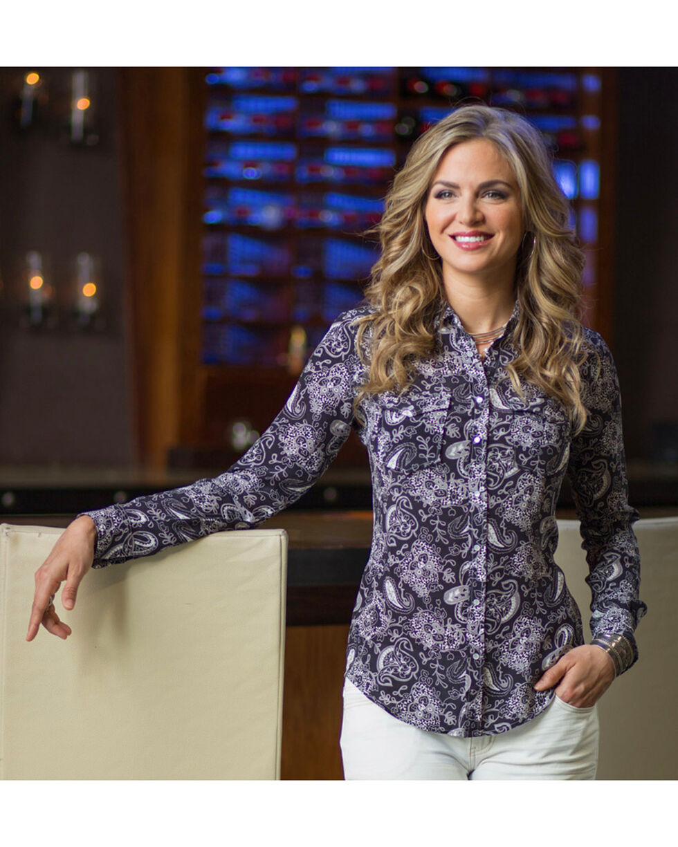 Ryan Michael Women's Midnight Silk Paisley Print Shirt, Navy, hi-res