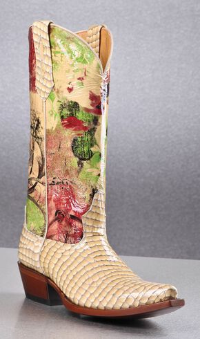 Johnny Ringo Women's Faux Snakeskin Printed Cowgirl Boots - Square Toe, Cream, hi-res