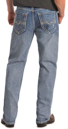 """Rock & Roll Cowboy Cannon Abstract """"V"""" Pocket Jeans, Med Wash, hi-res"""