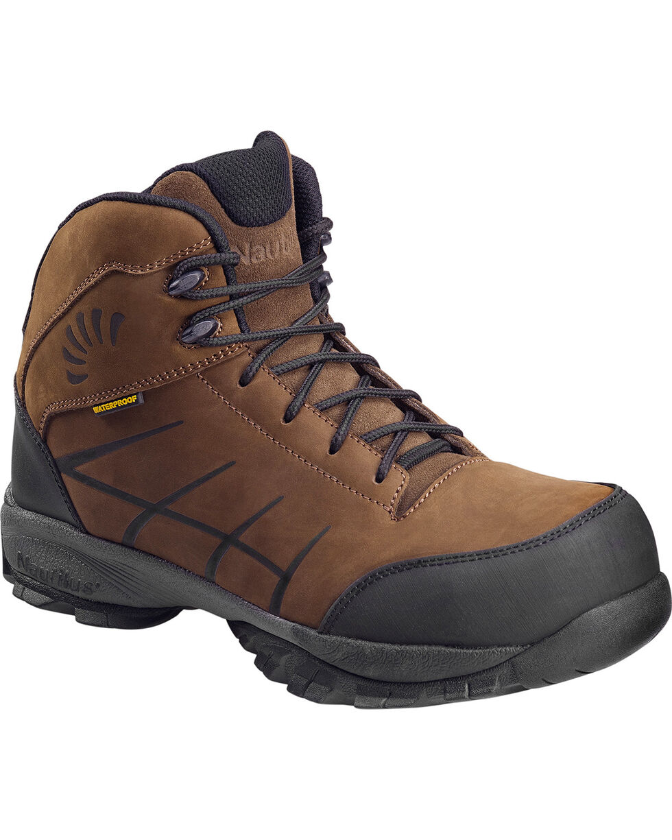 Nautilus Men's Brown Hiker Waterproof SD Work Boots - Composite Toe , Brown, hi-res