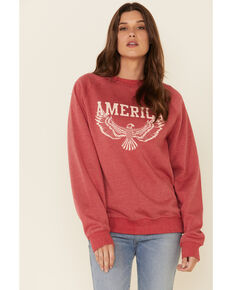 Cowgirl Tuff Women's Red America Eagle Graphic Sweatshirt , Red, hi-res