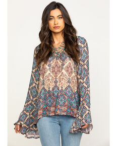 Stetson Women's Brown Herringbone Twill Border Print Blouse, Brown, hi-res