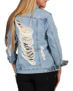 Boom Boom Jeans Women's Destructed Denim Jacket, Blue, hi-res