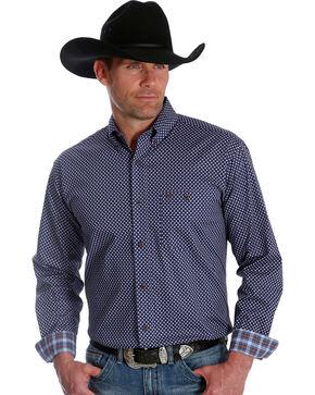 Wrangler 20X Men's Polka Dot Blue Advanced Comfort Competition Long Sleeve Western Shirt , Blue, hi-res