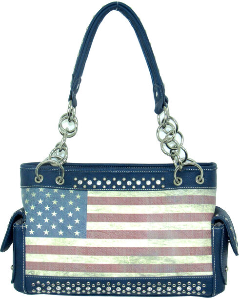 Savana Women's Blue Faux Leather Conceal Carry American Flag Handbag, Blue, hi-res