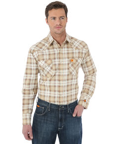 Wrangler 20X Men's FR Khaki Plaid Long Sleeve Work Shirt - Big & Tall , Beige/khaki, hi-res