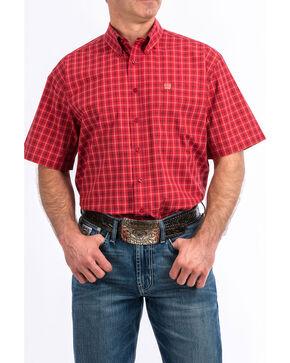 Cinch Men's Red Plaid Short Sleeve Western Shirt, Red, hi-res