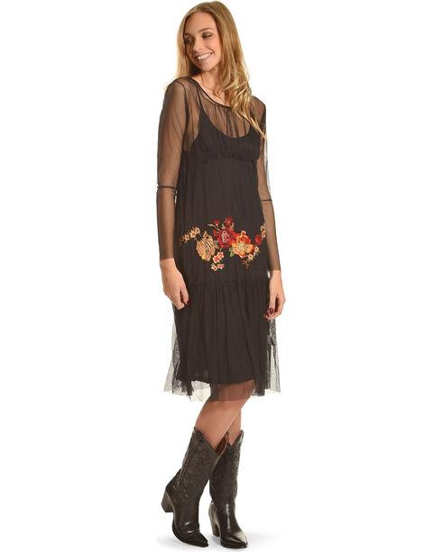 Johnny Was Women's Black Wressin Mesh Dress , Black, hi-res