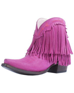 Junk Gypsy by Lane Women's Spitfire Mustard Fringe Booties - Snip Toe, Pink, hi-res