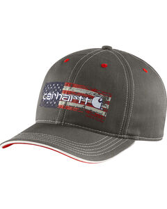 Carhartt Men's Charcoal Grey Distressed Flag Graphic Cap, Charcoal Grey, hi-res
