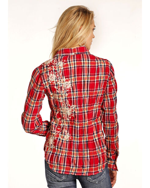Rock & Roll Cowgirl Women's Red Floral Embroidered Shirt , Red, hi-res