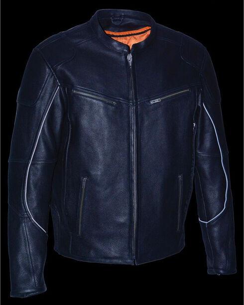 Milwaukee Leather Men's Black Cool Tec Leather Scooter Jacket - Big 3X, Black, hi-res