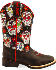 Blazin Roxx Girls' Destiny Skull Boots - Square Toe , Brown, hi-res