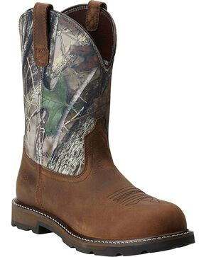 Ariat Groundbreaker Camo Pull-On Work Boots - Steel Toe, Brown, hi-res