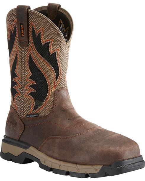 Ariat Men's Rebar Western VentTEK Work Boots - Comp Toe, Chocolate, hi-res