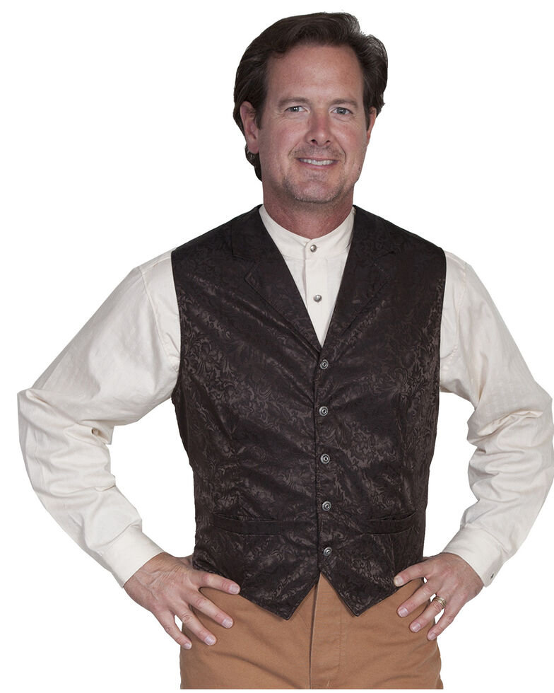 Wahmaker Silk Floral Single Breasted Vest - Big & Tall, Chocolate, hi-res