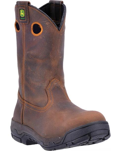 John Deere Men's WCT Removable Insert Work Boots - Aluminum Alloy Toe , Brown, hi-res