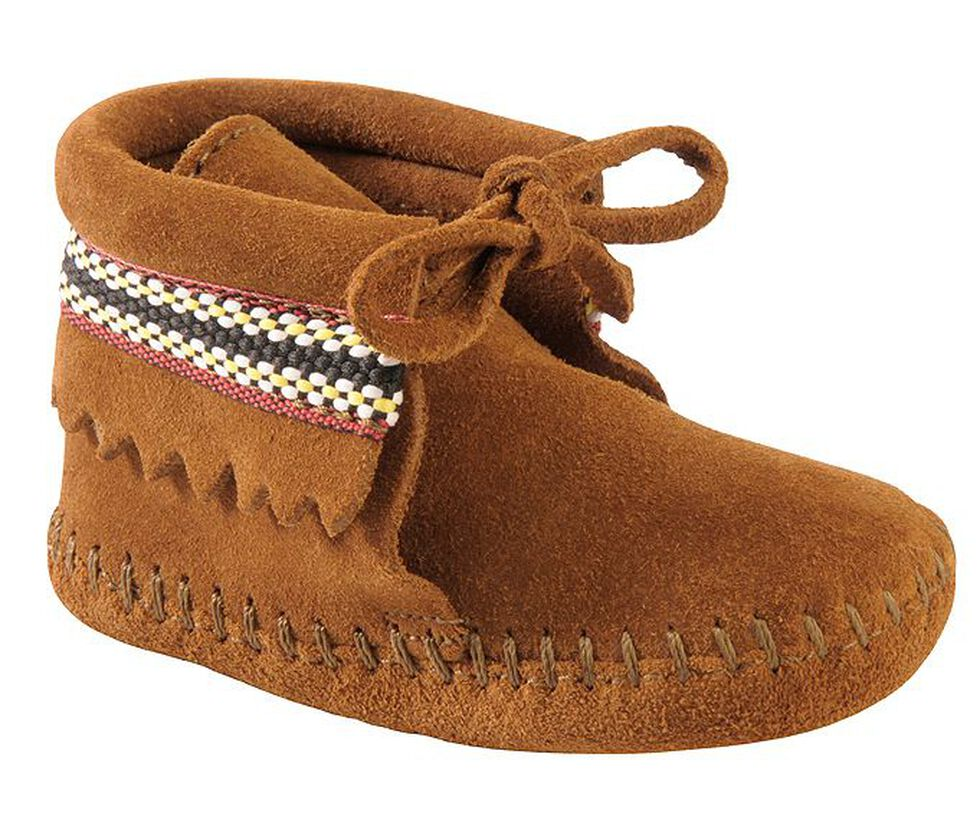 Minnetonka Infant Boys' Braided Bootie Moccasins, Brown, hi-res