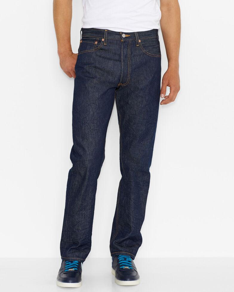 Levi's Men's 501 Indigo Original Shrink-to-Fit Regular Straight Leg Jeans, Indigo, hi-res