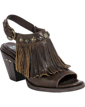 Lane Women's Brown Cody Fringe Slingback Sandals , Brown, hi-res