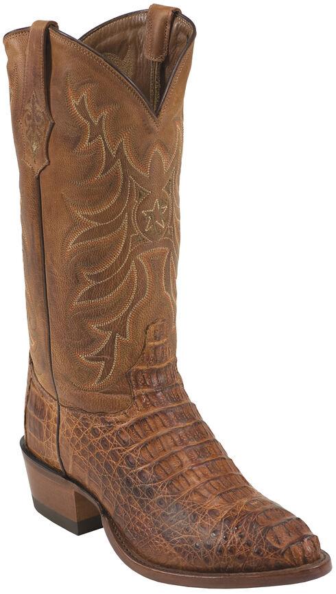 Tony Lama Cognac Vintage Exotics Hornback Caiman Cowboy Boots - Round Toe , Cognac, hi-res